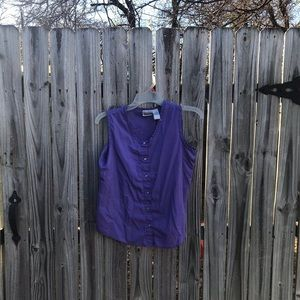 Purple button up tank top